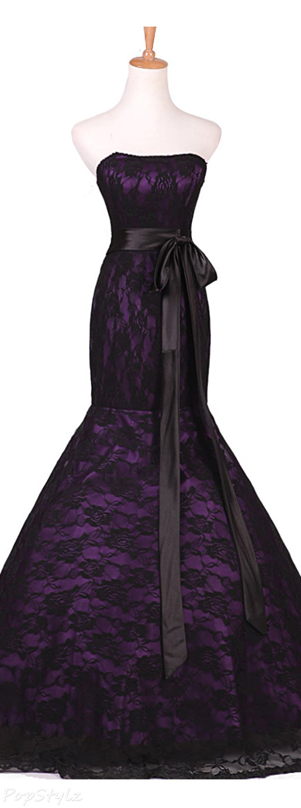 Sunvary Purple Satin & Black Lace Mermaid Gown