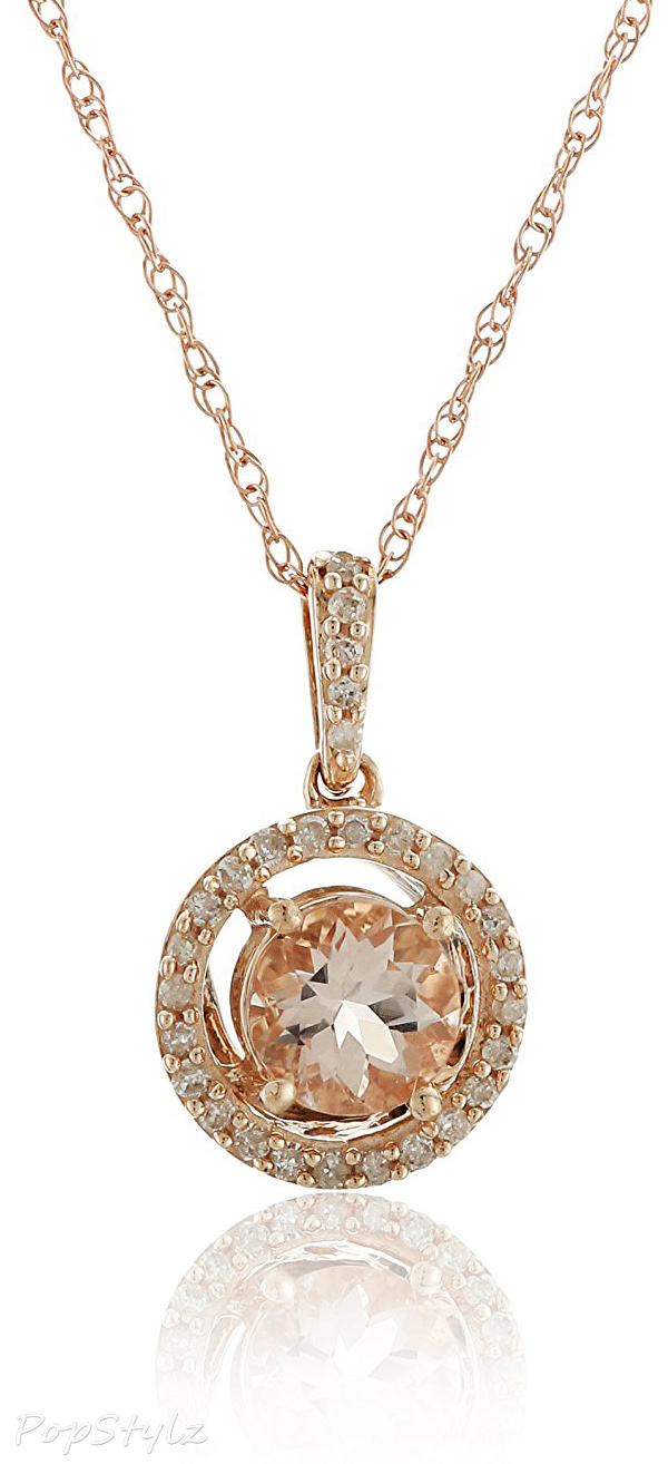 Rose-Gold Morganite Center & Diamond-Halo Pendant Necklace