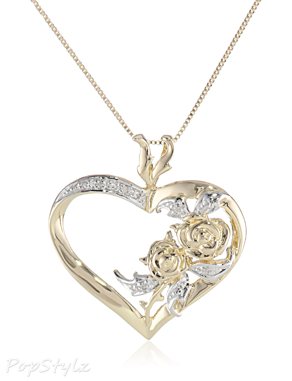 Yellow Gold Diamond-Accented Heart Pendant Necklac