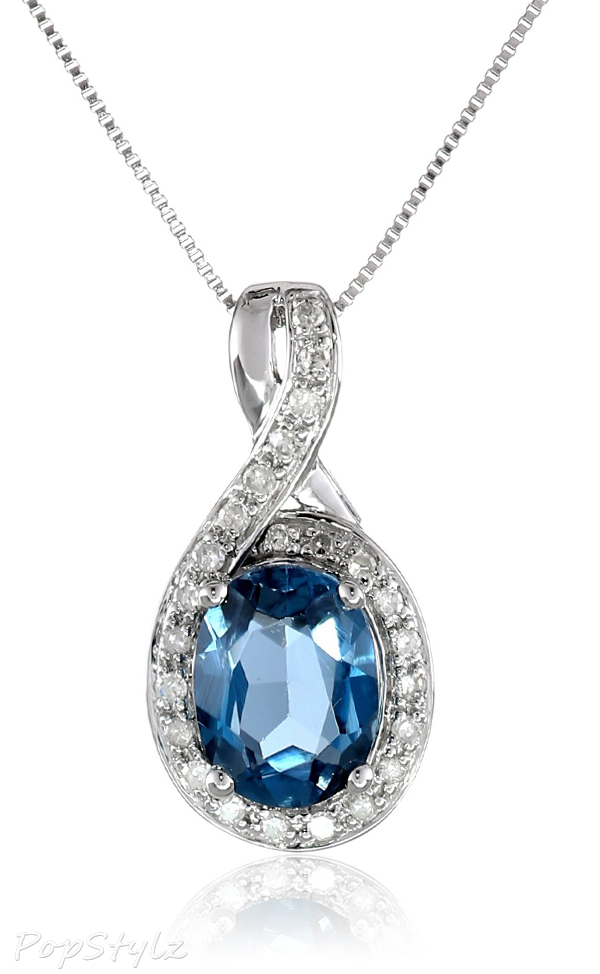 14k White Gold London Blue Topaz & Diamond Necklace