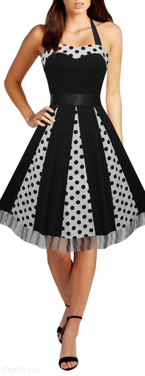 Black Butterfly 'Ivy' 50's Polka Dot Swing Dress