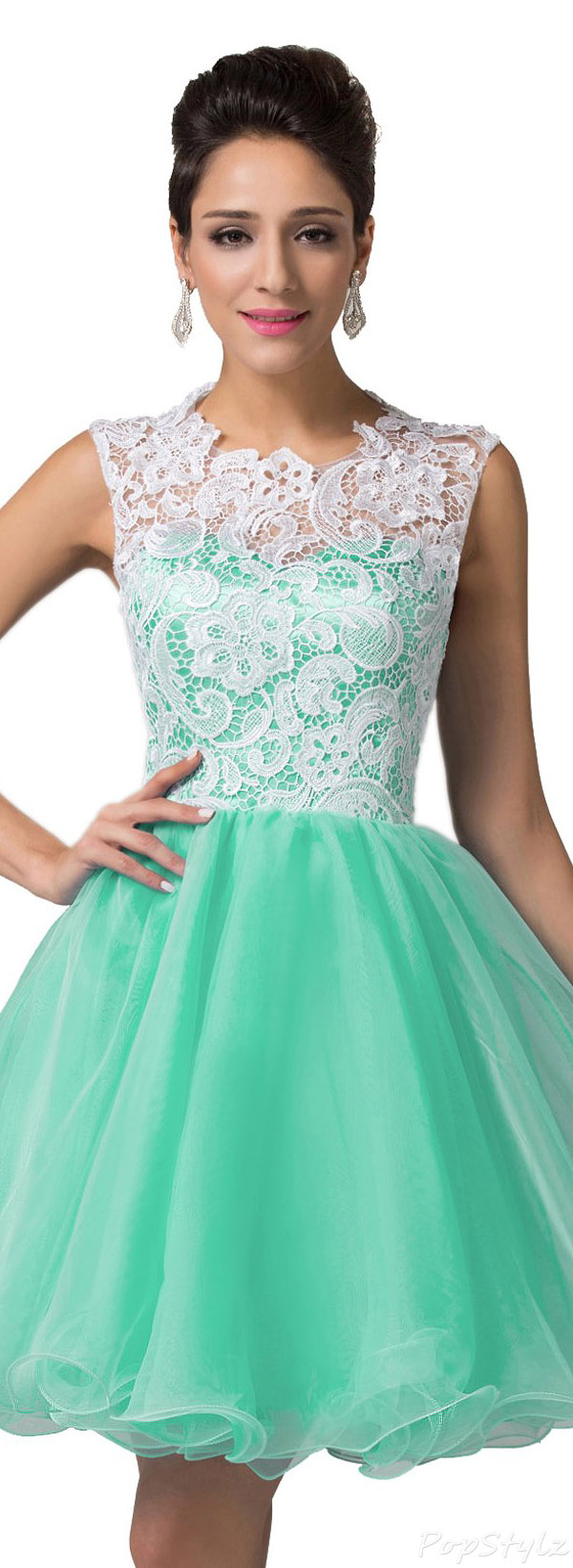 Grace Karin CL6123-5 Dress with Lace Bodice & Tulle Skirt