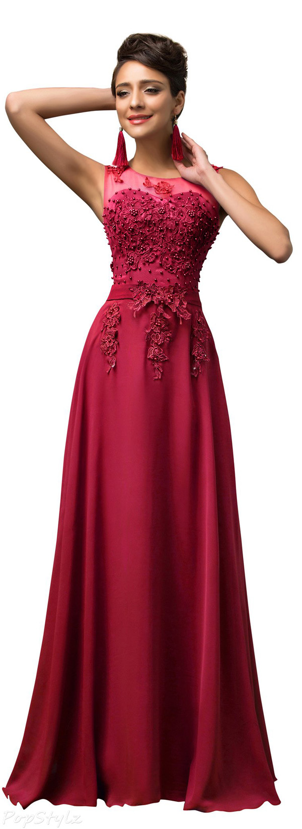 Grace Karin CL7555 V-Back Beads Long Evening Gown
