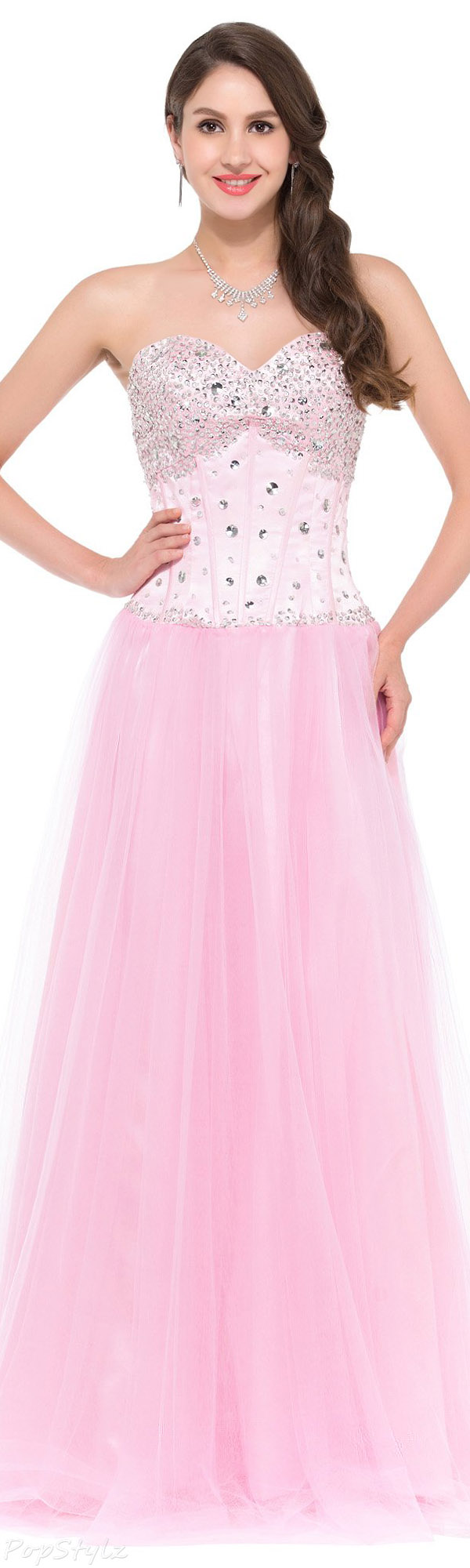 Grace Karin Strapless Satin & Tulle Long Evening Gown