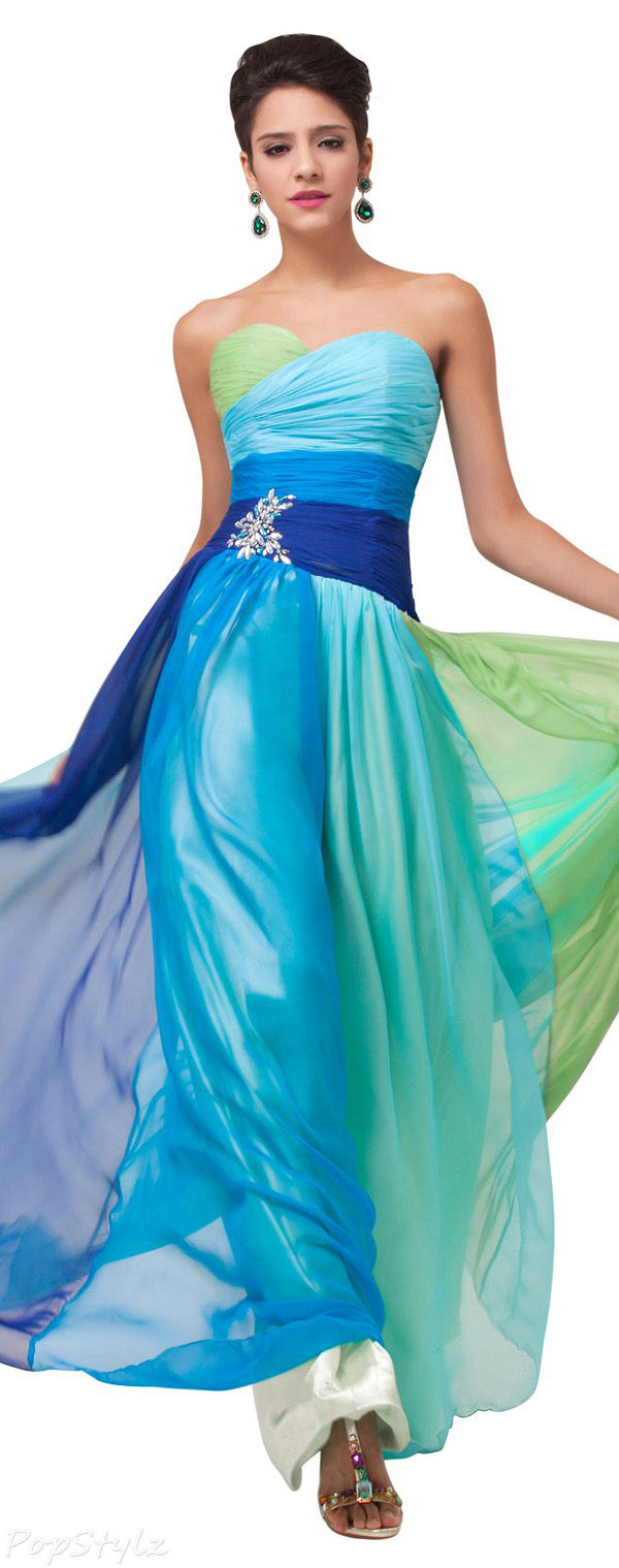 Grace Karin CL6069 Strapless Long Flowing Chiffon Evening Gown