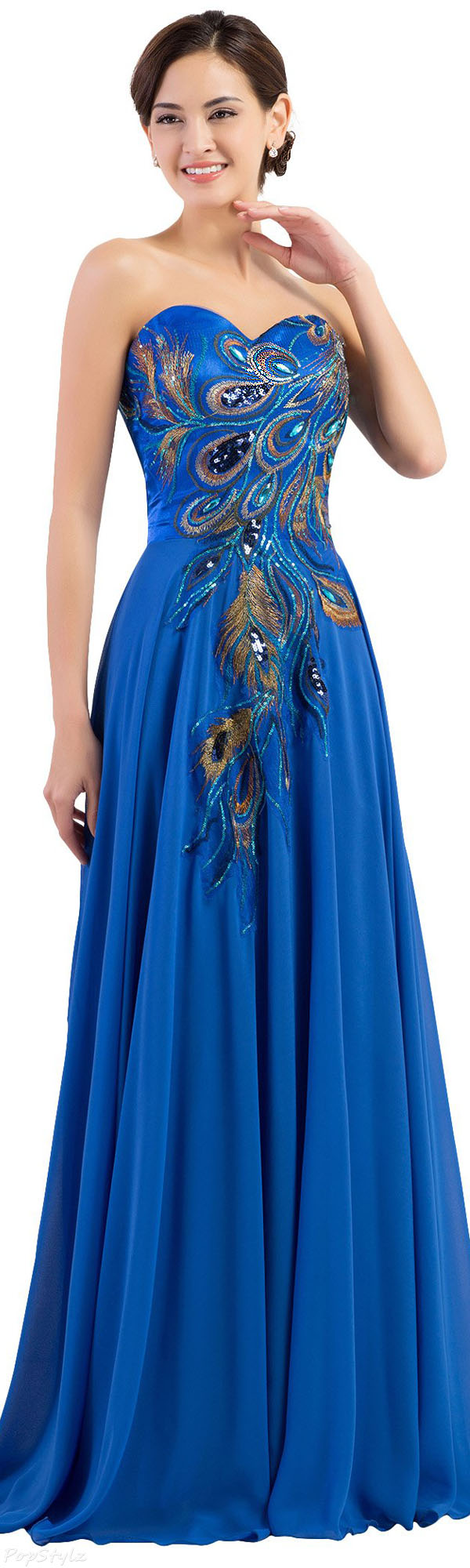 Grace Karin CL6168 Strapless Embroidered Evening Gown