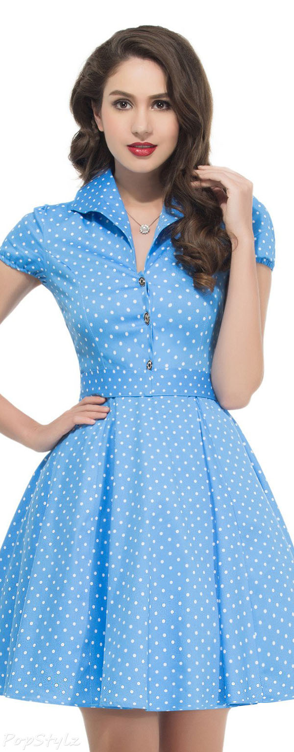 Grace Karin VL6089 Short Sleeve Polka Dots Swing Dress
