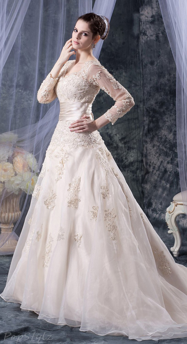 JOLLY BRIDAL Champagne Tulle Lace Bridal Gown with Sleeves
