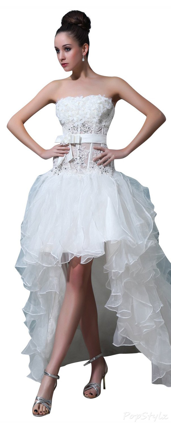 JOLLY BRIDAL Asymmetrical Organza Floral Beading Wedding Dress