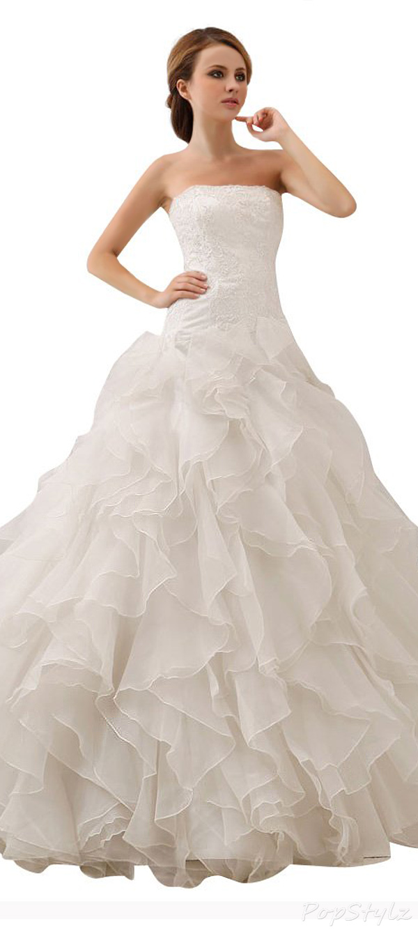 JOLLY BRIDAL Organza Off-Shoulder Ball Gown Wedding Dress