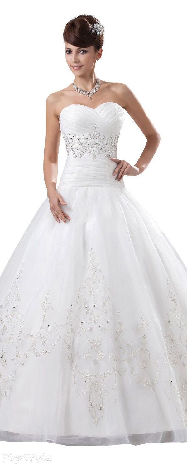 JOLLY BRIDAL Tulle Embroidered Off-Shoulder Ball Gown Wedding Dress