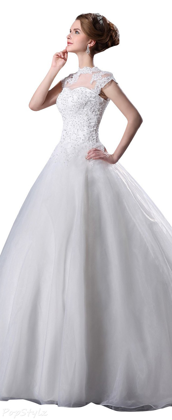 JOLLY BRIDAL Tulle Lace Beading Sleeveless Wedding Dress
