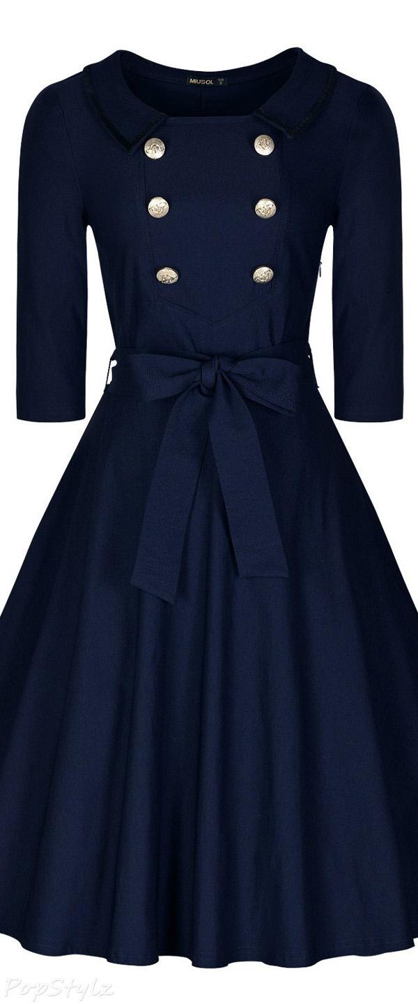 MIUSOL Classy 3/4 Sleeve Vintage Swing Dress