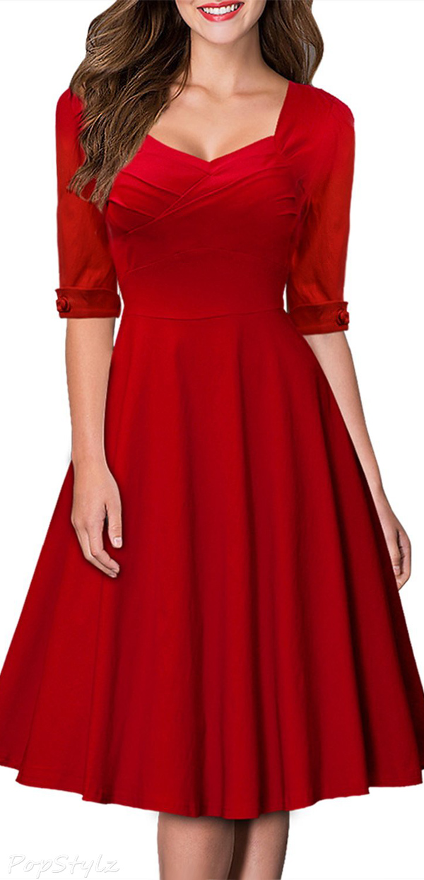 MIUSOL Retro Hepburn Style Half Sleeve Swing Dress