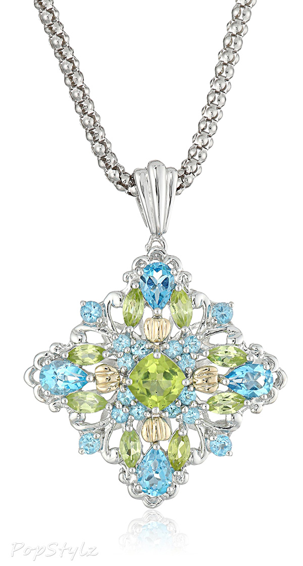 Sterling Silver & Yellow Gold Topaz & Peridot Pendant Necklace