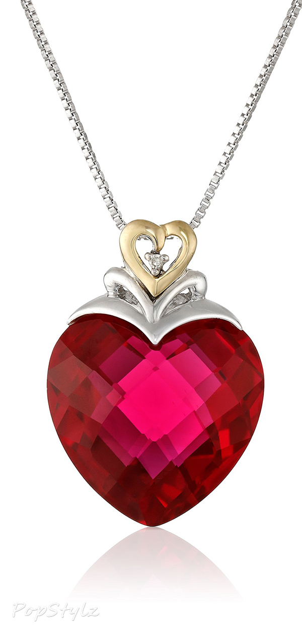 Sterling Silver & Gold Created Ruby Heart & Diamond-Accent Necklace