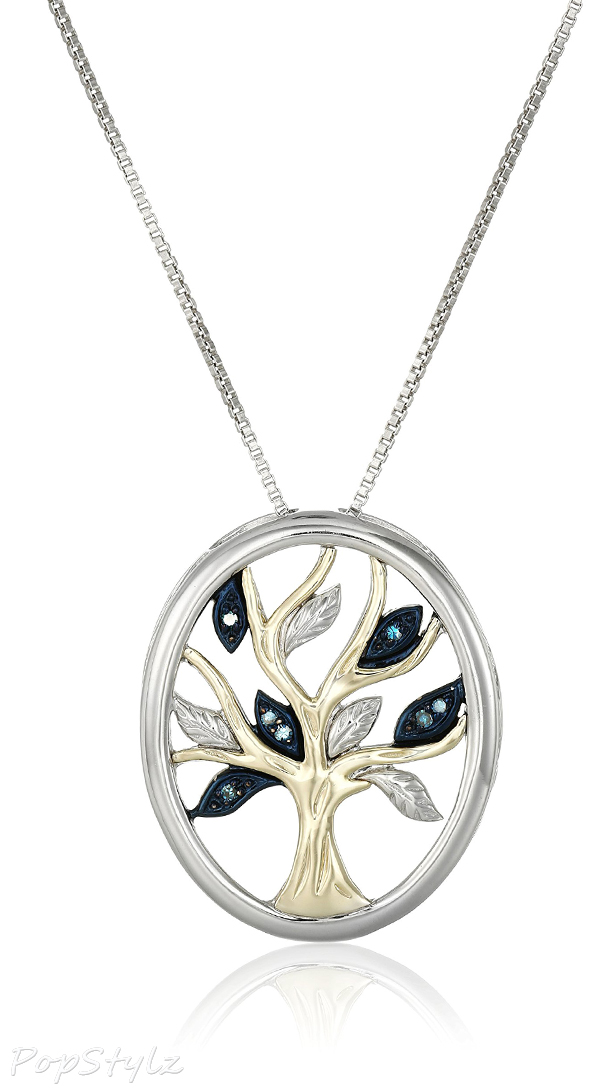 Sterling Silver & Yellow Gold Diamond Tree of Life Pendant Necklace