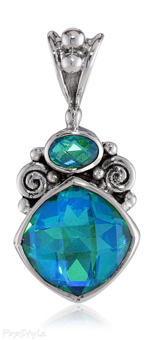 Sterling Silver and Caribbean Quartz Gemstone Pendant Necklace