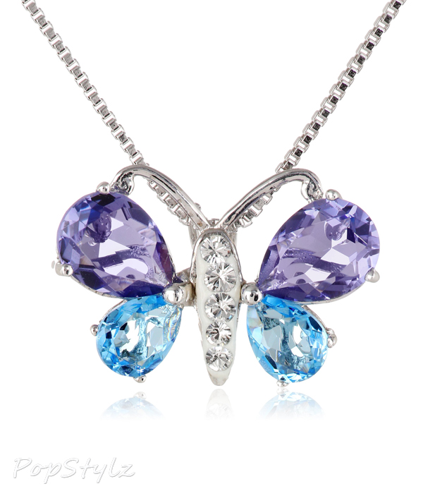Sterling Silver Blue & Purple Swarovski Elements Butterfly Necklace