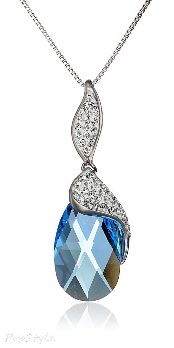 Sterling Silver Swarovski Crystal Briolette Pendant Necklace