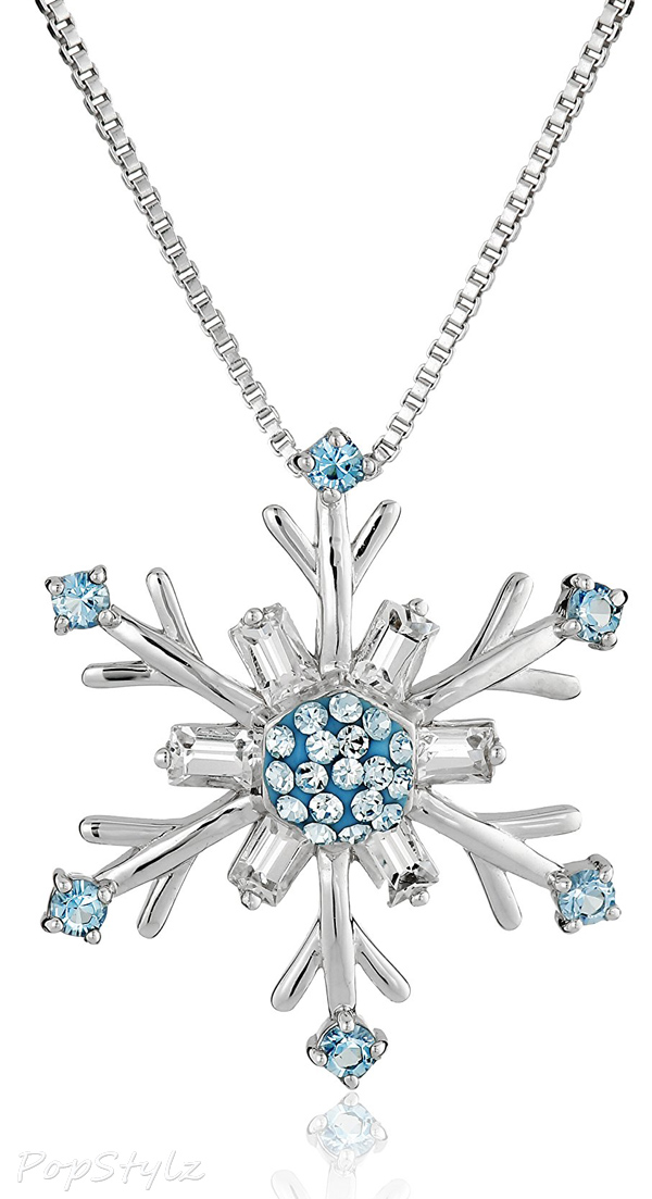Blue & White Swarovski Elements Snowflake Pendant Necklace
