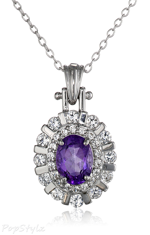 Sterling Silver Amethyst Gemstone & Created White Sapphire Necklace