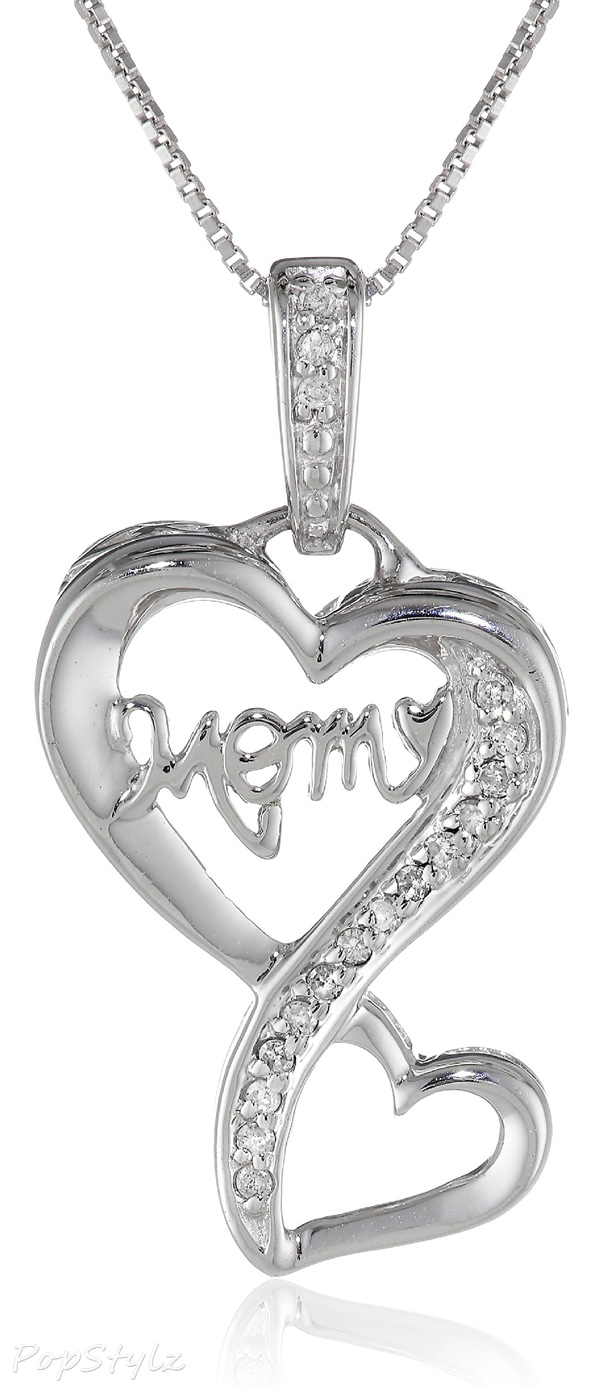 "Diamond ""Mom"" Double Heart Pendant Necklace"