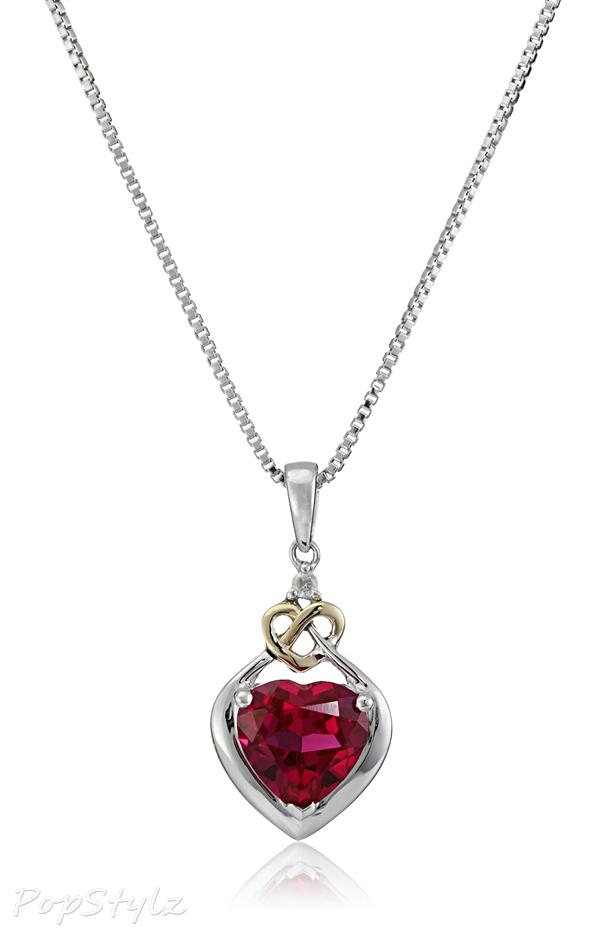 Love Knot Sterling Silver & Gold Diamond Pendant Necklace