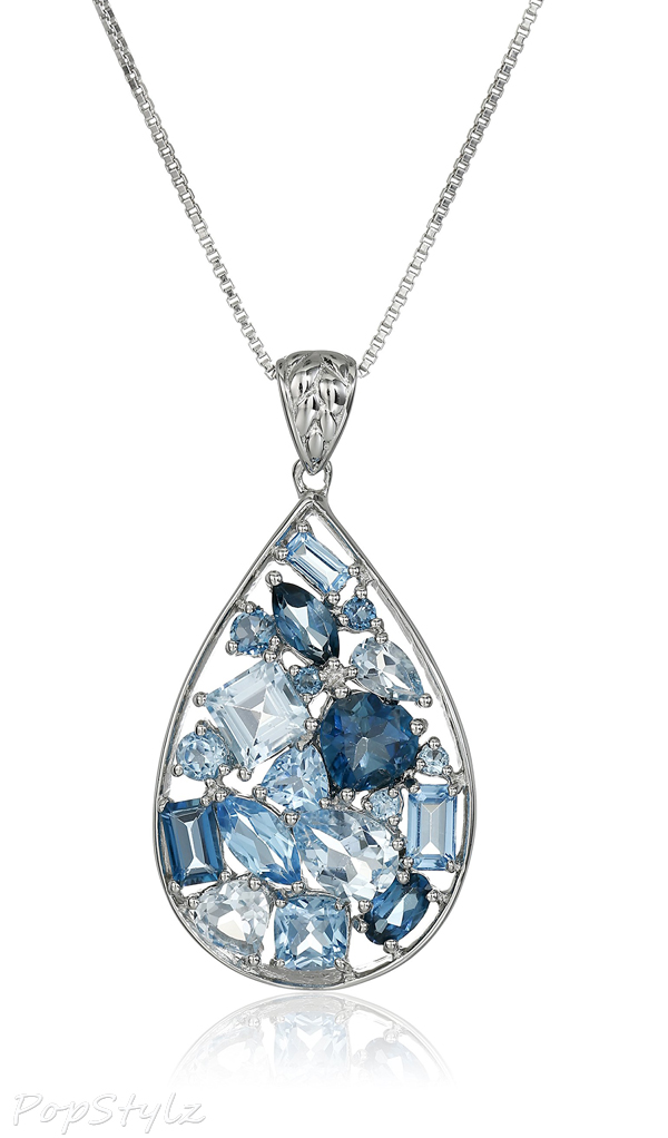 Sterling Silver Mixed Blue Topaz Mosaic Tear Drop Necklace