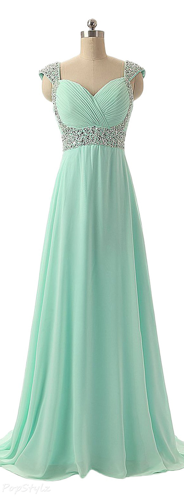 Sunvary Cap Sleeves Long Chiffon Formal Gown