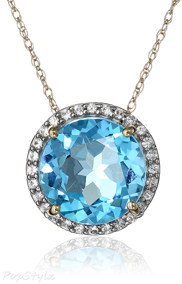 Blue Topaz & Created White Sapphire Pendant Necklace