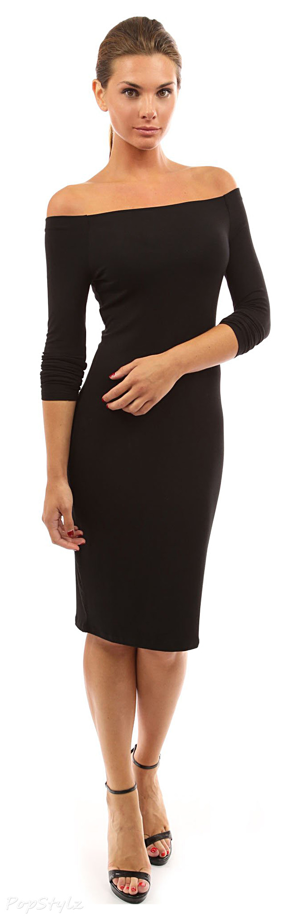 PattyBoutik Women's Off Shoulder Long Sleeve Fitted Dress