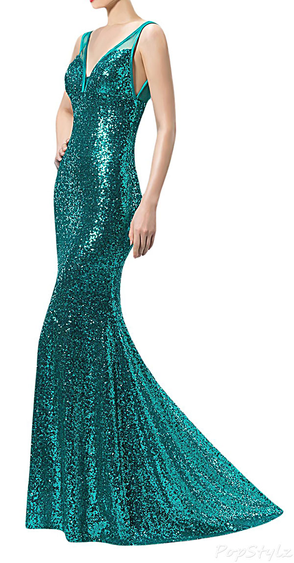 Sunvary 2015 V Neck Mermaid Sequin Formal Gown