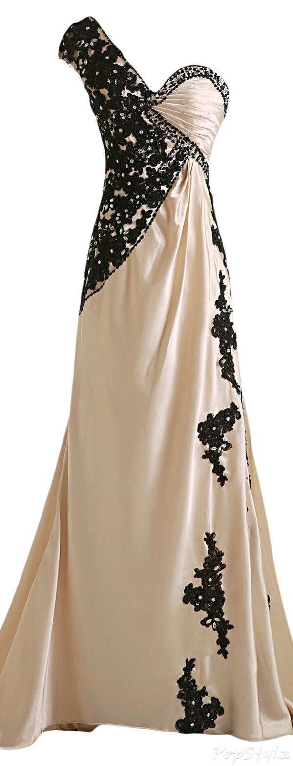 Sunvary Champagne Satin & Black Lace Evening Gown