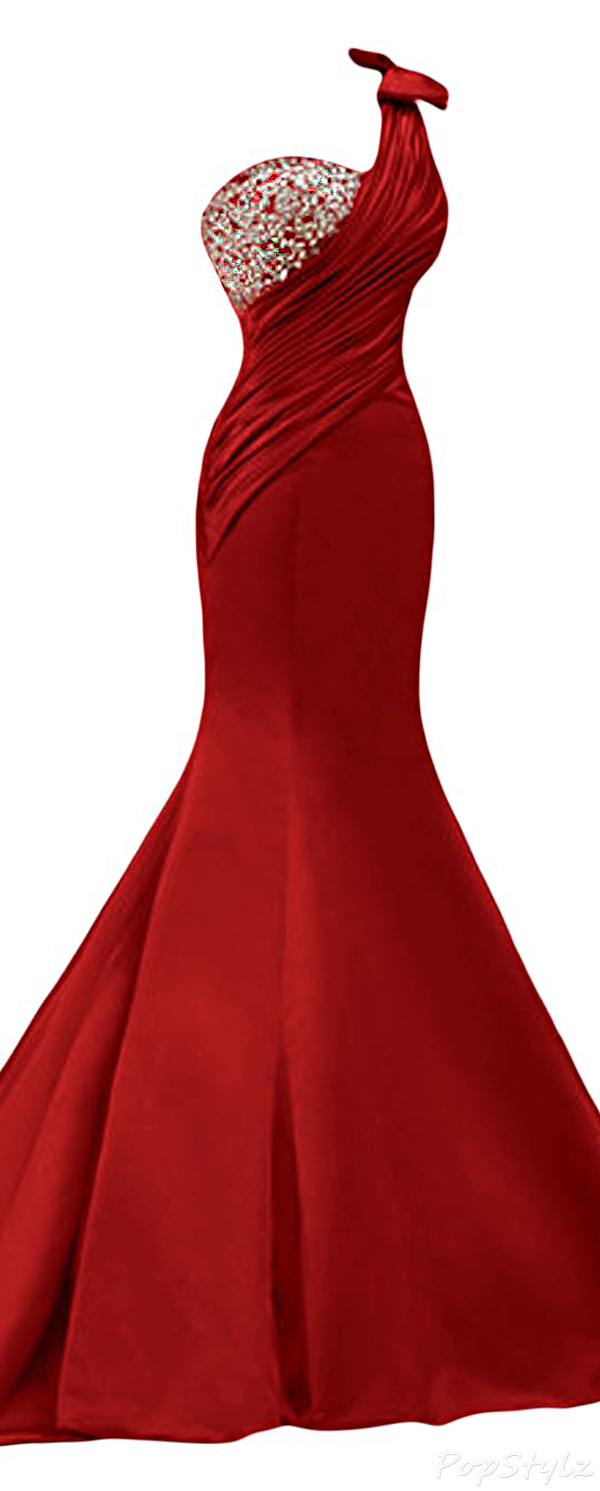 Sunvary Satin Mermaid Long Formal Evening Gown