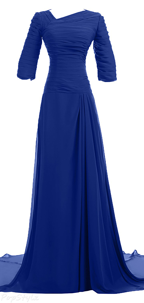 Sunvary Vintage Half Sleeves Long Formal Dress
