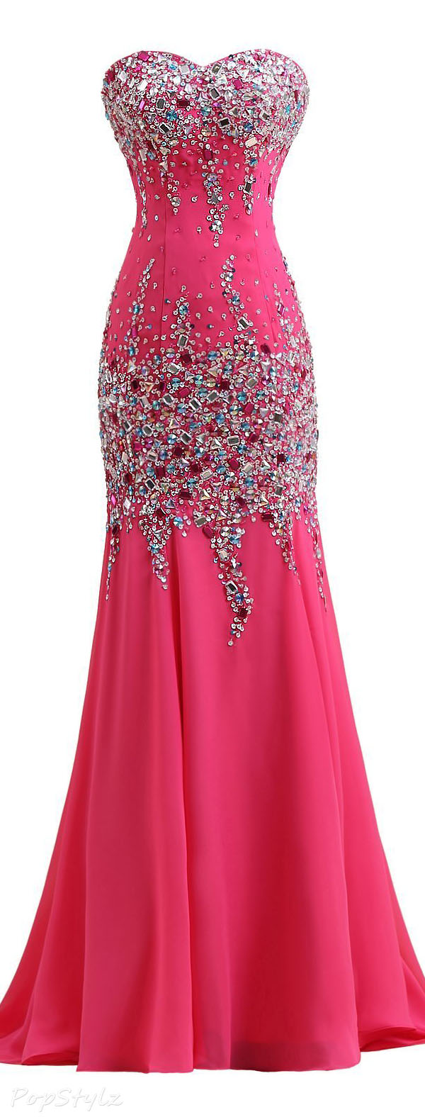 Sunvary Chiffon Rhinestone Strapless Sheath Mermaid Gown