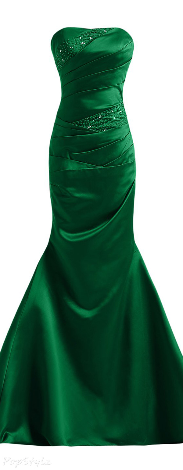 Sunvary Elegant Satin Strapless Long Evening Gown
