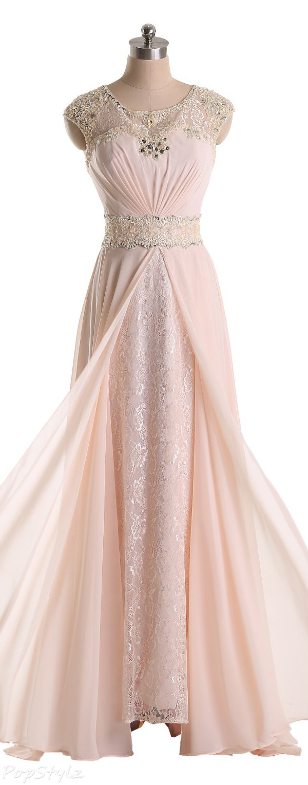 Sunvary Jewel Chiffon & Lace Long Formal Dress