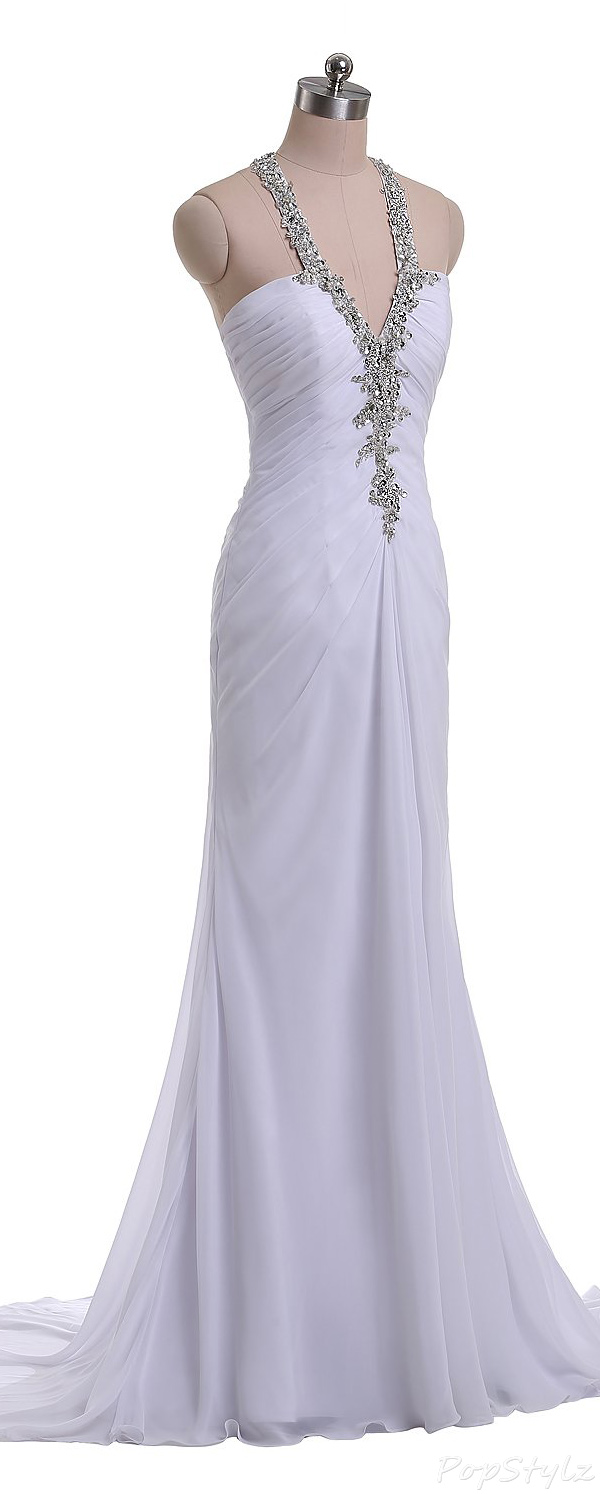 Sunvary Sequin Halter Chiffon Long Formal Gown