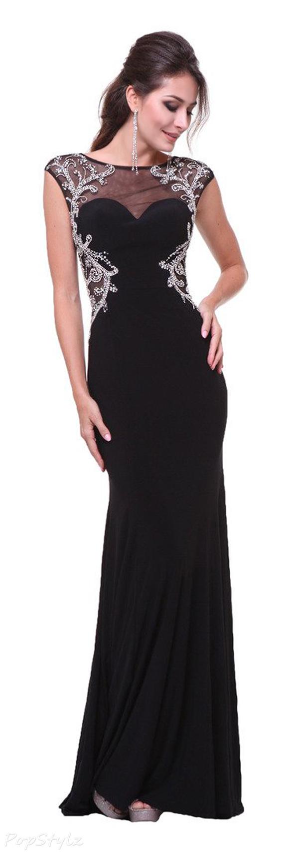 Meier Cap Sleeve Rhinestone Open Back Formal Dress