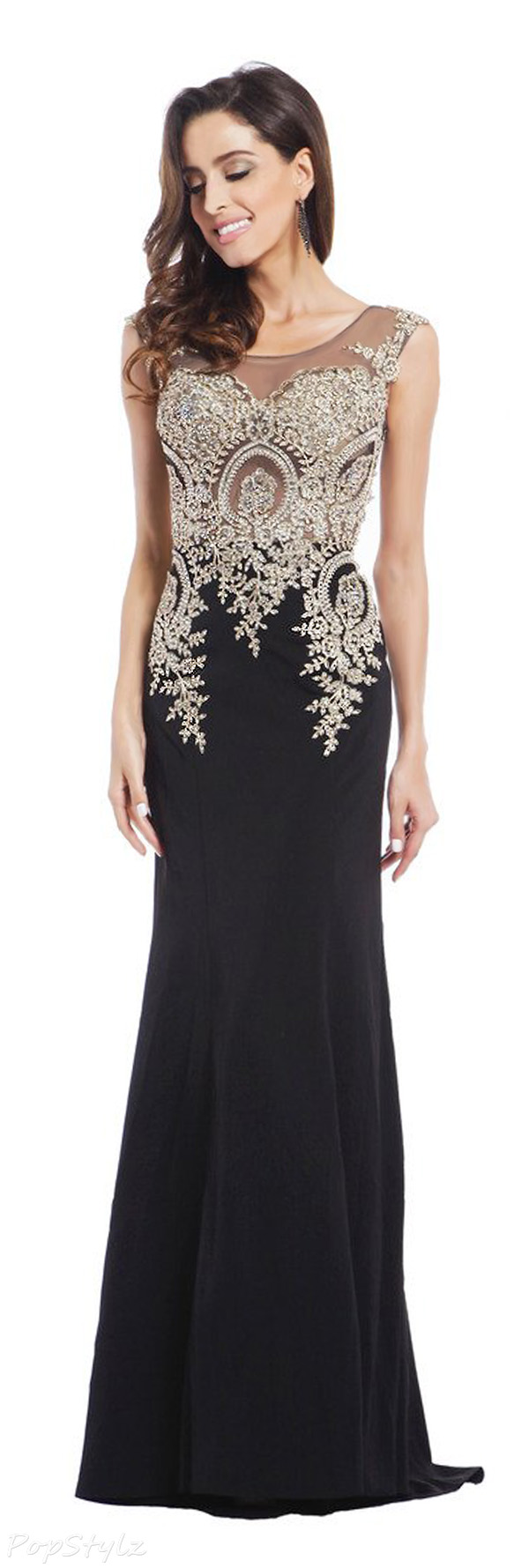 Meier Embroidery Rhinestone Long Formal Evening Dress