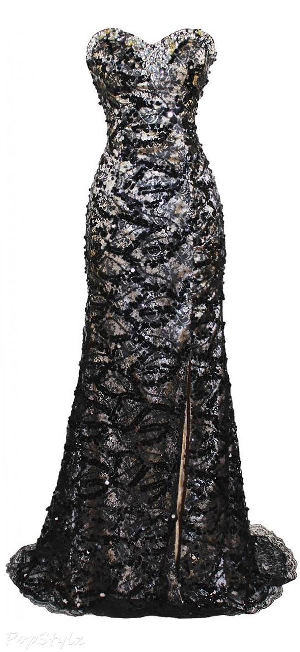 Meier Strapless Beaded Lace Beaded Long Formal Gown