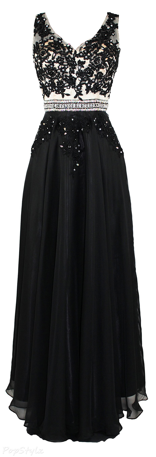 Meier Embroidery Lace Beaded Chiffon Formal Dress