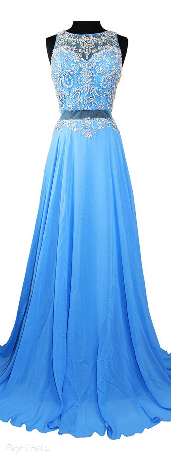 Meier Sheer Back Sleeveless Rhinestone Long Fromal Dress