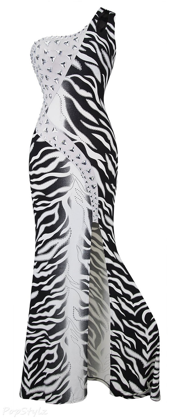 Angel-fashions One Shoulder Zebra Print Furcal Maxi Evening Gown