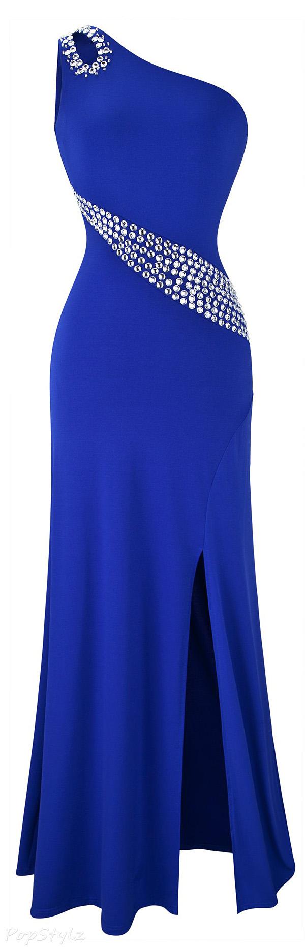 Angel-fashions Rhinestones Single Shoulder Maxi Dress