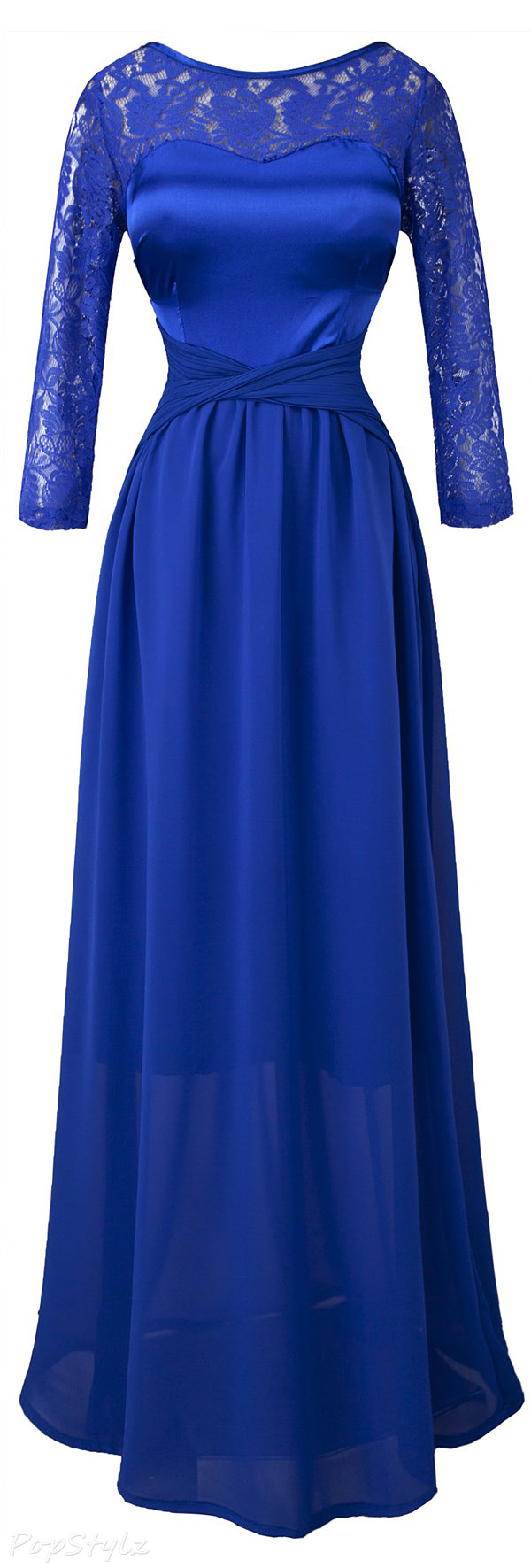 Angel-fashions Round Neck 3/4 Sleeves Floral Lace Gown
