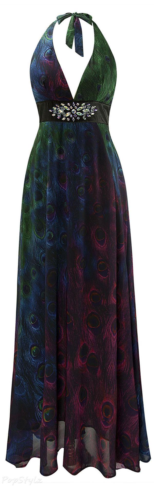 Angel-fashions Backless Beaded Chiffon Peacock Evening Dress