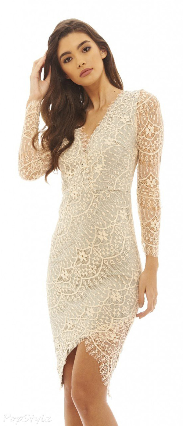 AX Paris Women's Crossover Lace Bodycon Dress